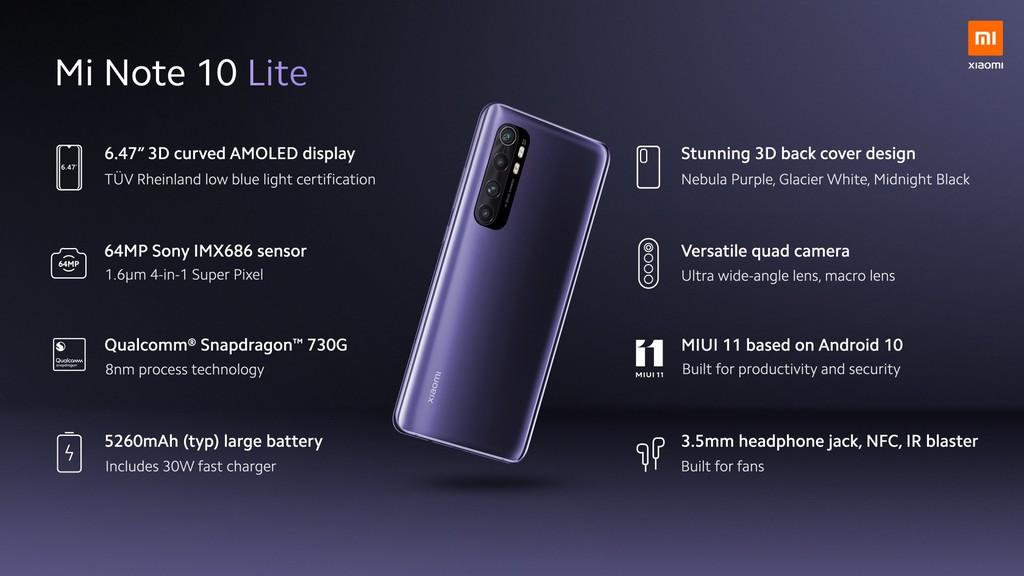 Xiaomi Mi Note 10 Lite ra mắt: Snapdragon 730G, pin 5.260 mAh sạc nhanh 30W, giá từ 379 USD ảnh 3