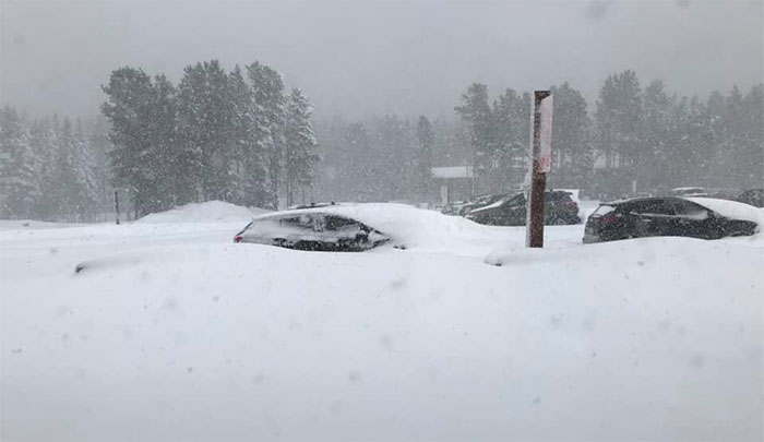 Ô tô bị ngập trong tuyết rơi dày hơn 1m.