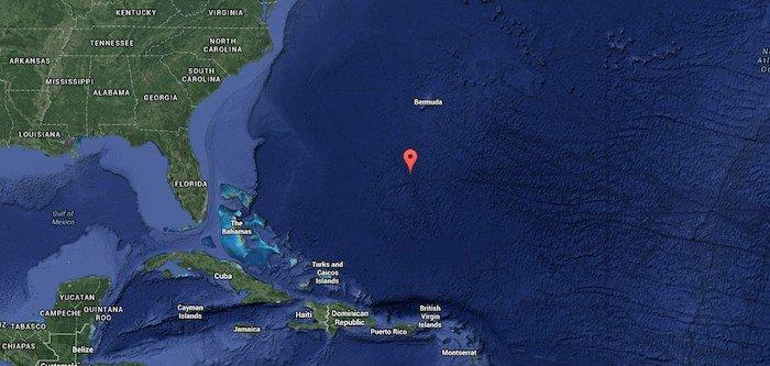 Vị trí của biển Sargasso trên Google Maps.