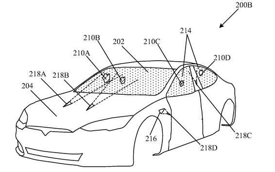 Hình vẽ mô tả bằng sáng chế về việc dùng laser để làm sạch kính chắn gió trên xe Tesla.