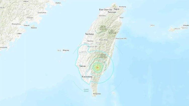 Vị trí tâm chấn trận động đất ở huyện Đài Trung, Đài Loan hôm nay.