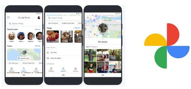 Giao diện tìm kiếm và logo mới của Google Photos.