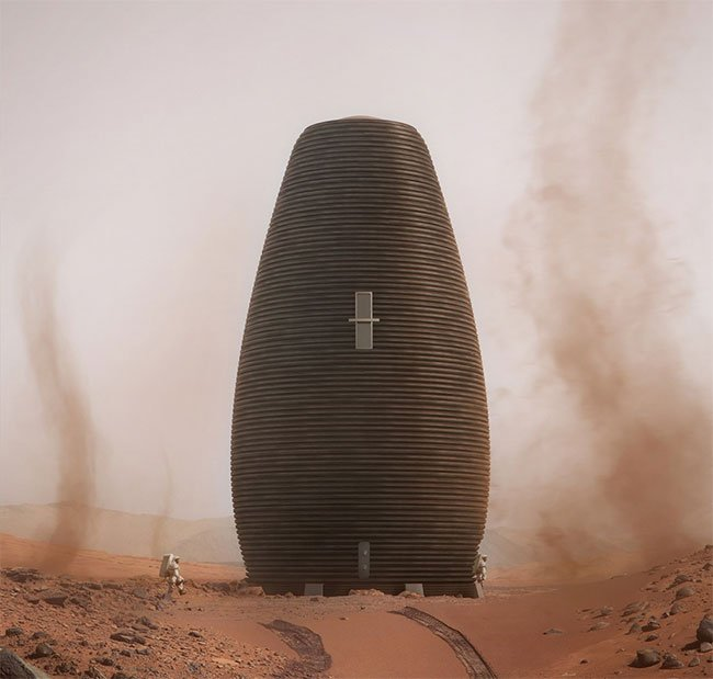 Kiến trúc AI SpaceFactory trong hình đứng ở vị trí thứ hai với cấu trúc hình trứng.