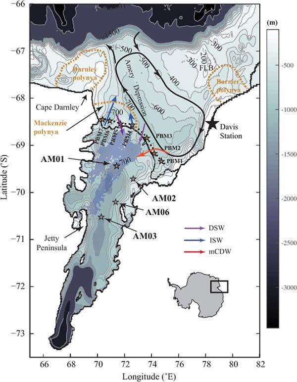 Vị trí thềm băng Amery ở phía đông của Nam Cực.