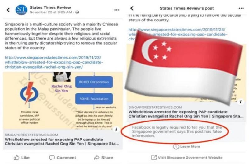 Facebook phai dinh chinh tin gia theo lenh chinh phu Singapore
