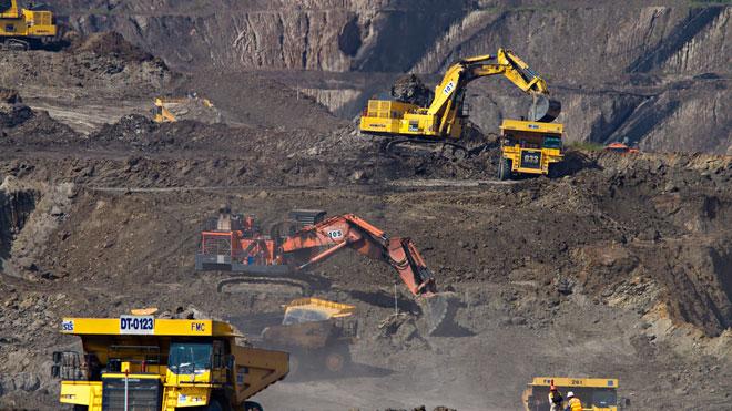 Hiện trường khai thác mỏ quặng.