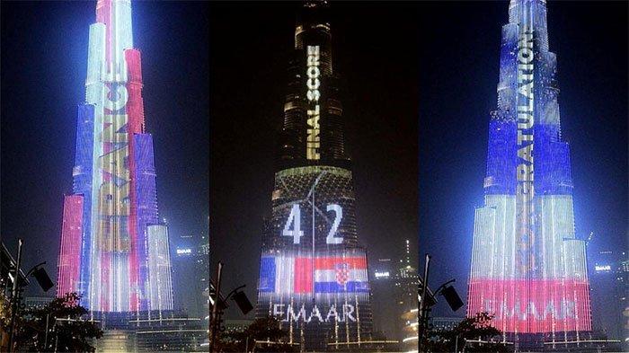 """Năm 2018, màn hình LED quanh tháp Burj Khalifa đã trở thành """"bảng tỷ số bóng đá cao nhất thế giới"""""""