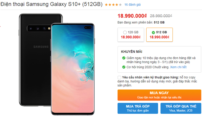 top smartphone android giam gia manh nhat, galaxy s10+ 512gb giam 10 trieu hinh anh 1