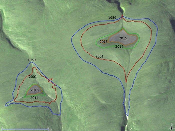 Sự co ngót của hai chỏm băng đã được ghi nhận trong một nghiên cứu năm 2017