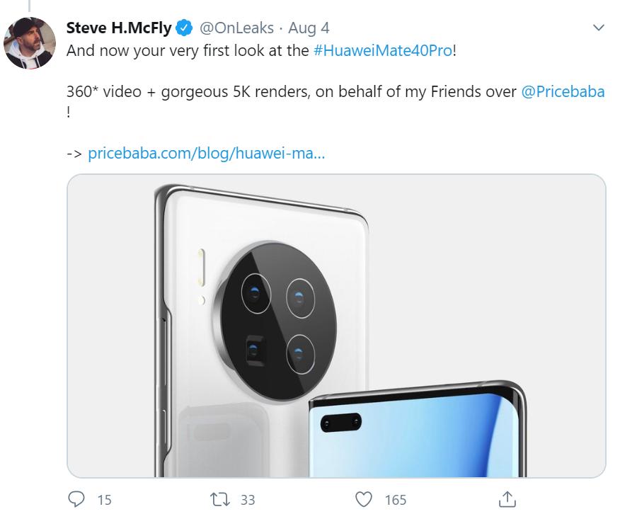 """Rò rỉ hình ảnh Huawei Mate 40 series với cụm camera """"siêu to khổng lồ"""" ảnh 1"""