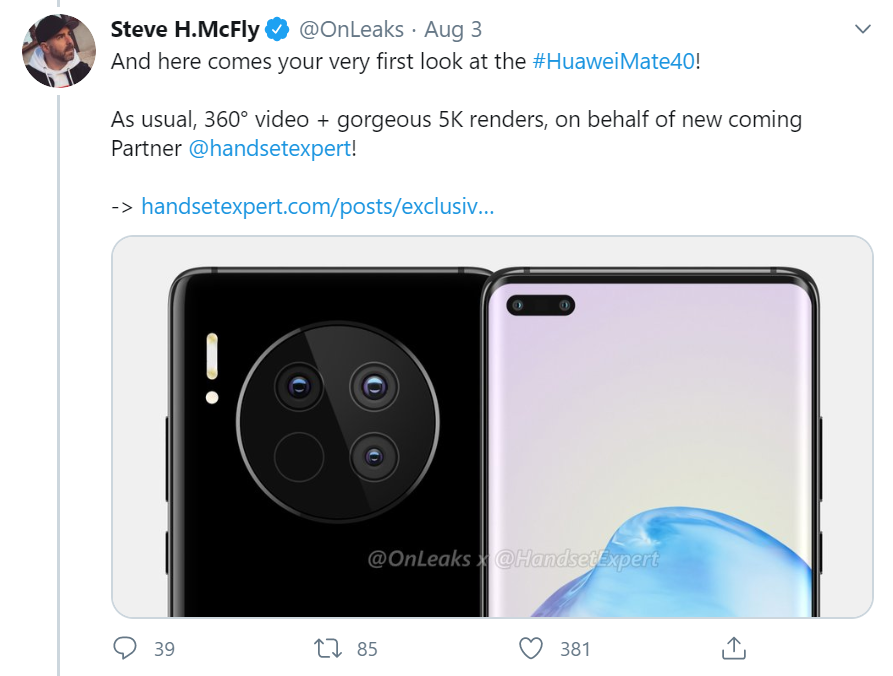 """Rò rỉ hình ảnh Huawei Mate 40 series với cụm camera """"siêu to khổng lồ"""" ảnh 2"""