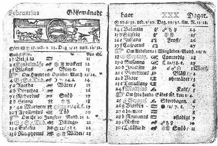 Một bản lịch Gregorian cổ năm 1753 của Thụy Điển