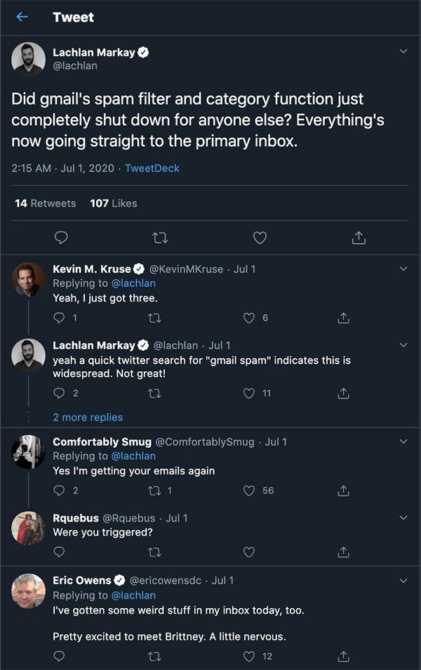 Trên mạng xã hội Twitter, nhiều người dùng xác nhận gặp vấn đề về bộ lọc thư rác trong Gmail.