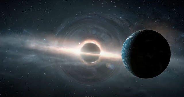 Ảnh đồ họa mô tả một thế giới ma quái được sinh ra bởi lỗ đen quái vật