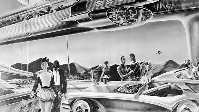 Một bức vẽ năm 1958 mô phỏng cuộc sống của con người trong tương lai