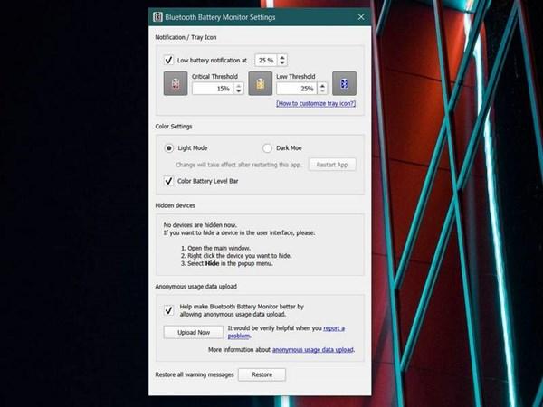 Thủ thuật Windows 10: giám sát dung lượng pin của thiết bị Bluetooth