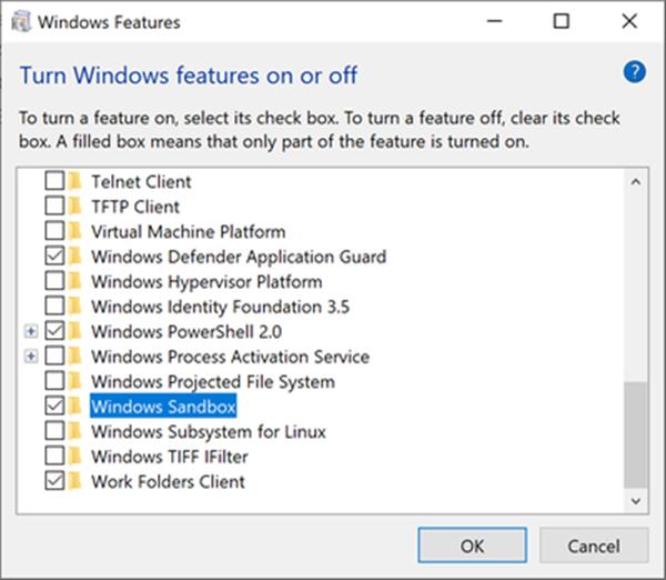 Kích hoạt tính năng Sandbox trên Windows 10