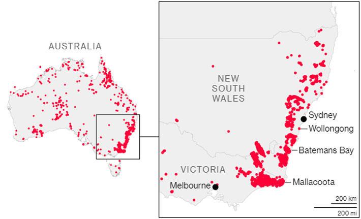 Bản đồ cháy rừng của Australia. Bị ảnh hưởng nặng nề nhất là hai bang New South Wales và Victoria