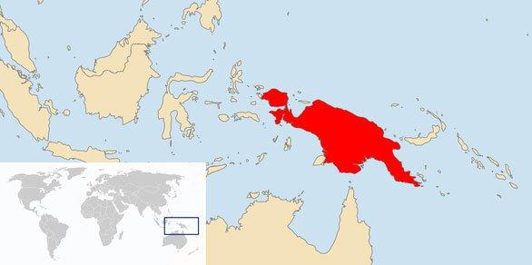 Vị trí của đảo New Guinea trên bản đồ thế giới