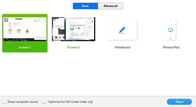 Chọn màn hình chia sẻ trên Zoom
