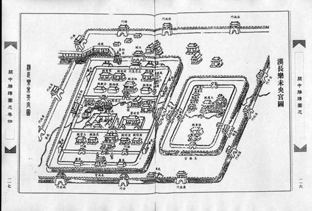 Minh họa thời nhà Thanh về Vị Ương cung và Trường Lạc cung