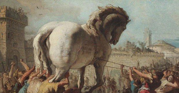 Truyền thuyết ngựa gỗ thành Troy nổi tiếng.
