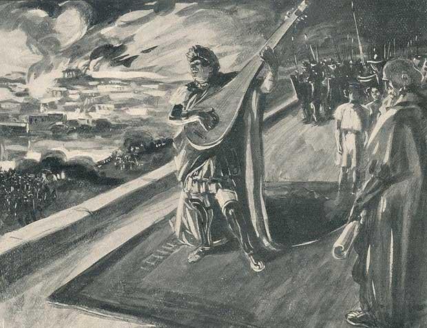 Tranh vẽ mô tả hoàng đế Nero đang chơi đàn trong lúc thành Rome phát hỏa.