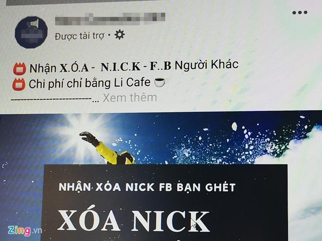 Dich vu die nick Facebook quang cao ram ro tai Viet Nam hinh anh 1