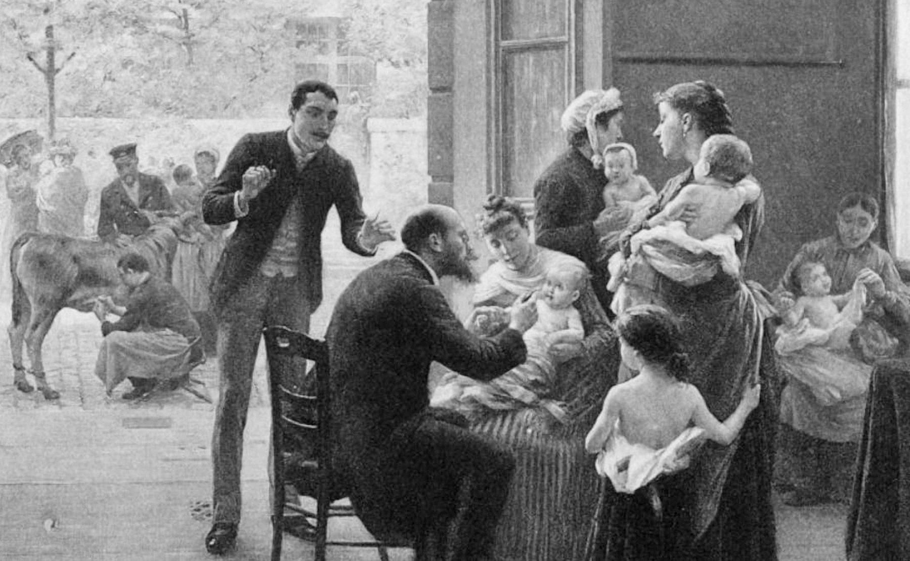 Một bác sĩ đang theo dõi tác dụng phụ của vaccine sau khi tiêm phòng cho trẻ em ở Paris  vào năm 1890. Ảnh: J. Scalbert.