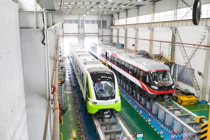 Tàu đệm từ trong nhà máy của công ty CRRC Zhuzhou Locomotives.