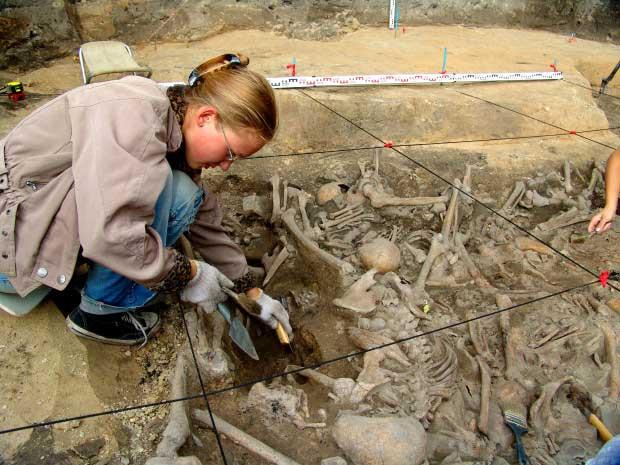 Các nhà khoa học căn cứ vào kết quả xét nghiệm ADN để xác định quan hệ giữa những xác chết trong mộ.