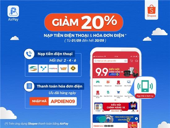 Tiết kiệm 20% khi nạp tiền điện thoại và thanh toán tiền điện trên Shopee với AirPay