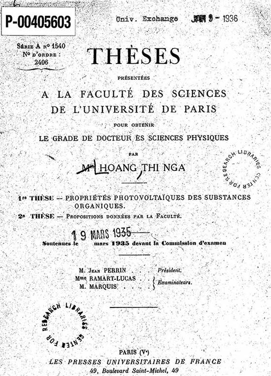 Trang bìa Luận án, trình bày tại khoa khoa học Đại học Paris để nhận bằng tiến sĩ về vật lý, do bà Hoàng Thị Nga trình bày