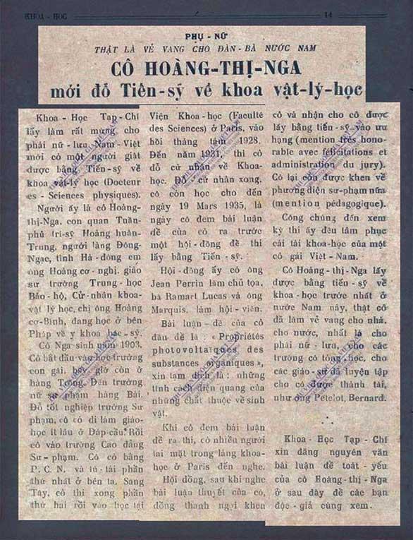 Bài báo viết về bà Hoàng Thị Nga trên tờ Tạp chí Khoa Học số 97.