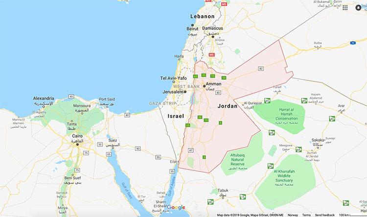 Vị trí của Jordan trên bản đồ thế giới