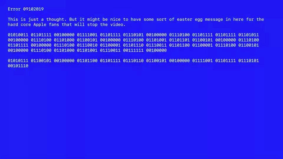Apple dùng màn hình xanh chết chóc gửi mật thư cho iFan ngay trên sân khấu ra mắt iPhone 11