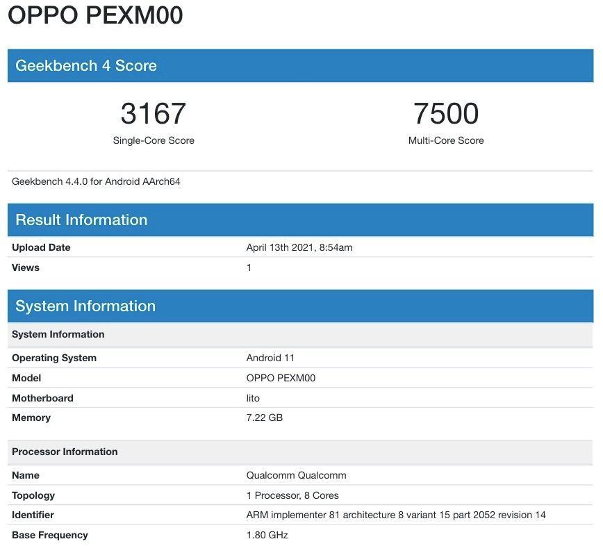 OPPO Reno6 được phát hiện trên Geekbench cùng Snapdragon 768G ảnh 2
