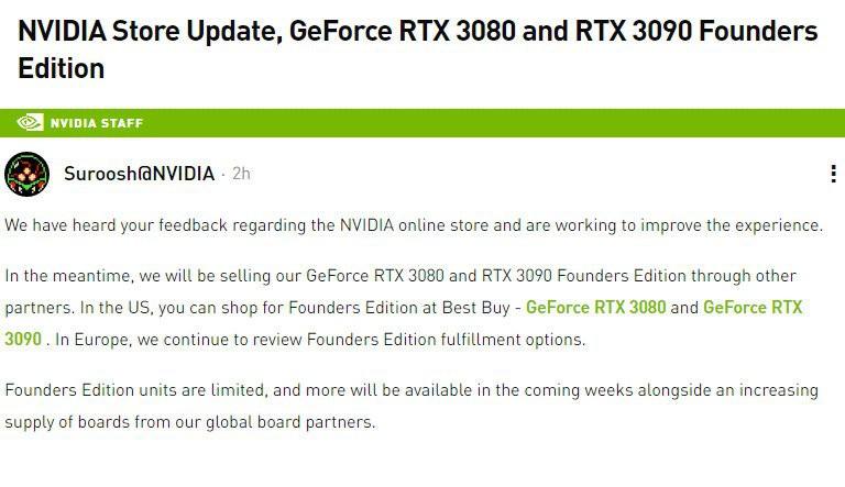 """Nvidia dừng bán RTX 3080 và 3090 trực tuyến, chuyển """"trách nhiệm"""" sang Best Buy ảnh 2"""