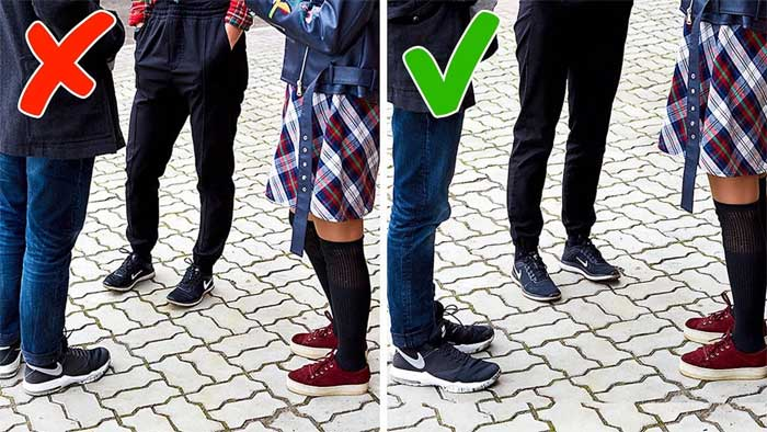 Nên chú ý hướng mũi chân trong khi đang trò chuyện với người khác