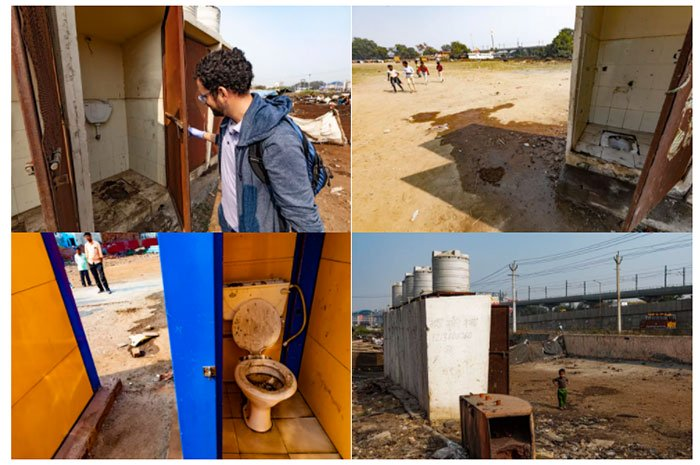 Những nhà vệ sinh công cộng cũ kỹ, mục nát ở Ấn Độ