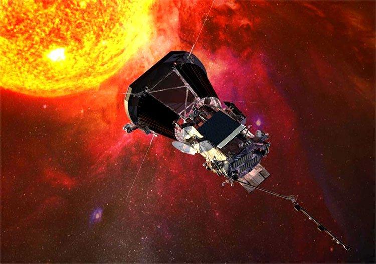 Minh họa quang cảnh khi con tàu Parker tiến gần tới Mặt Trời.
