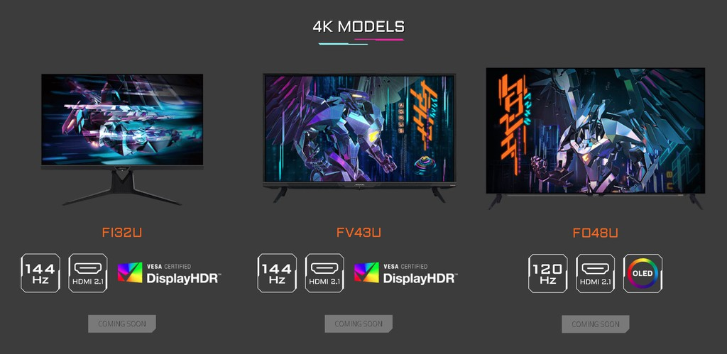 Gigabyte công bố ba màn hình chơi game có HDMI 2.1, kích cỡ TV ảnh 2