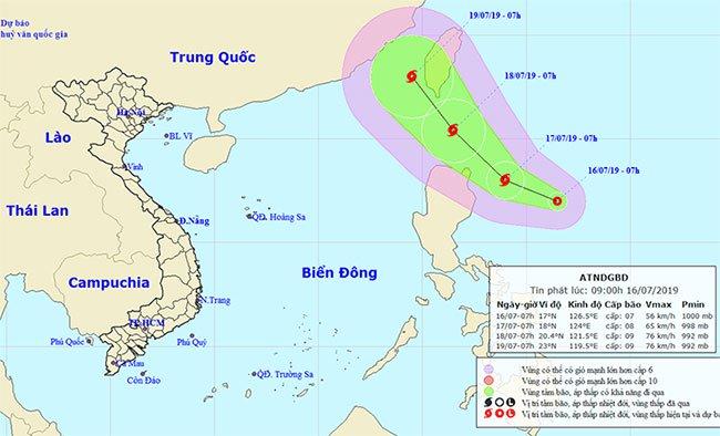 Sơ đồ dự báo hướng đi áp thấp nhiệt đới
