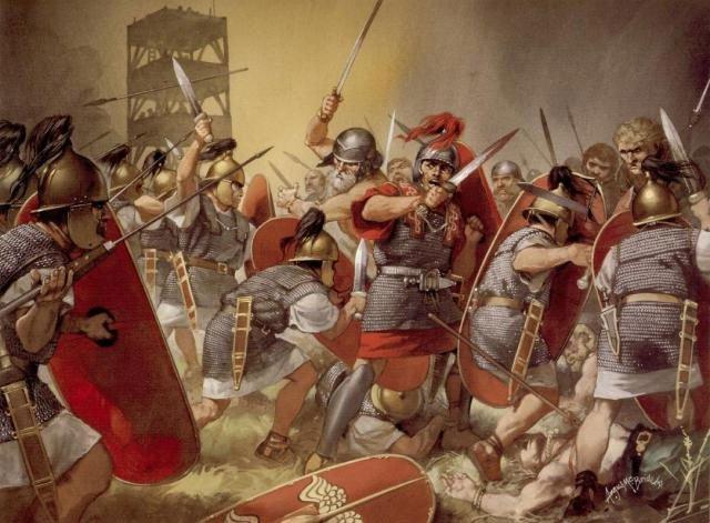 Lính La Mã sử dụng kiếm Gladius để cận chiến.