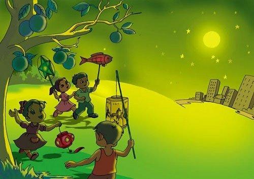 . Thời điểm trăng lên cao, trẻ em sẽ vừa múa hát vừa ngắm trăng phá cỗ.