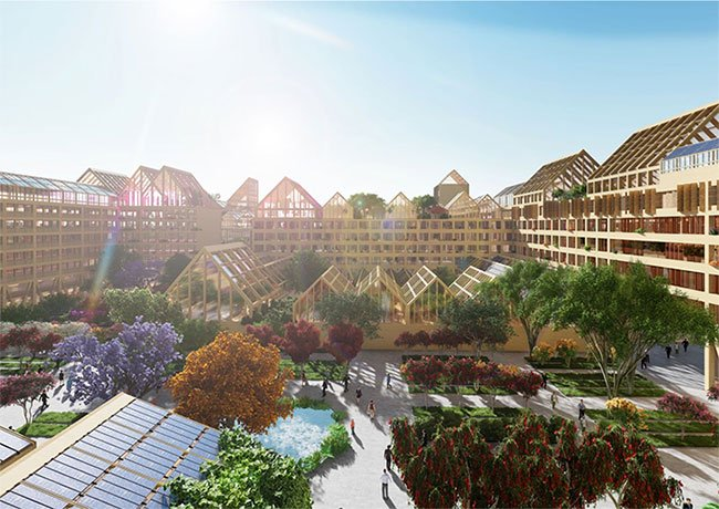 Xung quanh các khu nhà ở là hệ thống nhà kính tiện nghi cho việc trồng cây lương thực, hoa màu.