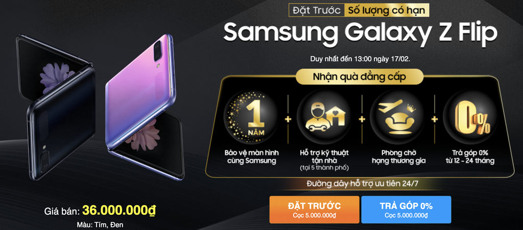 Samsung Galaxy Z Flip cho đặt trước trở lại, duy nhất hôm nay  ảnh 2