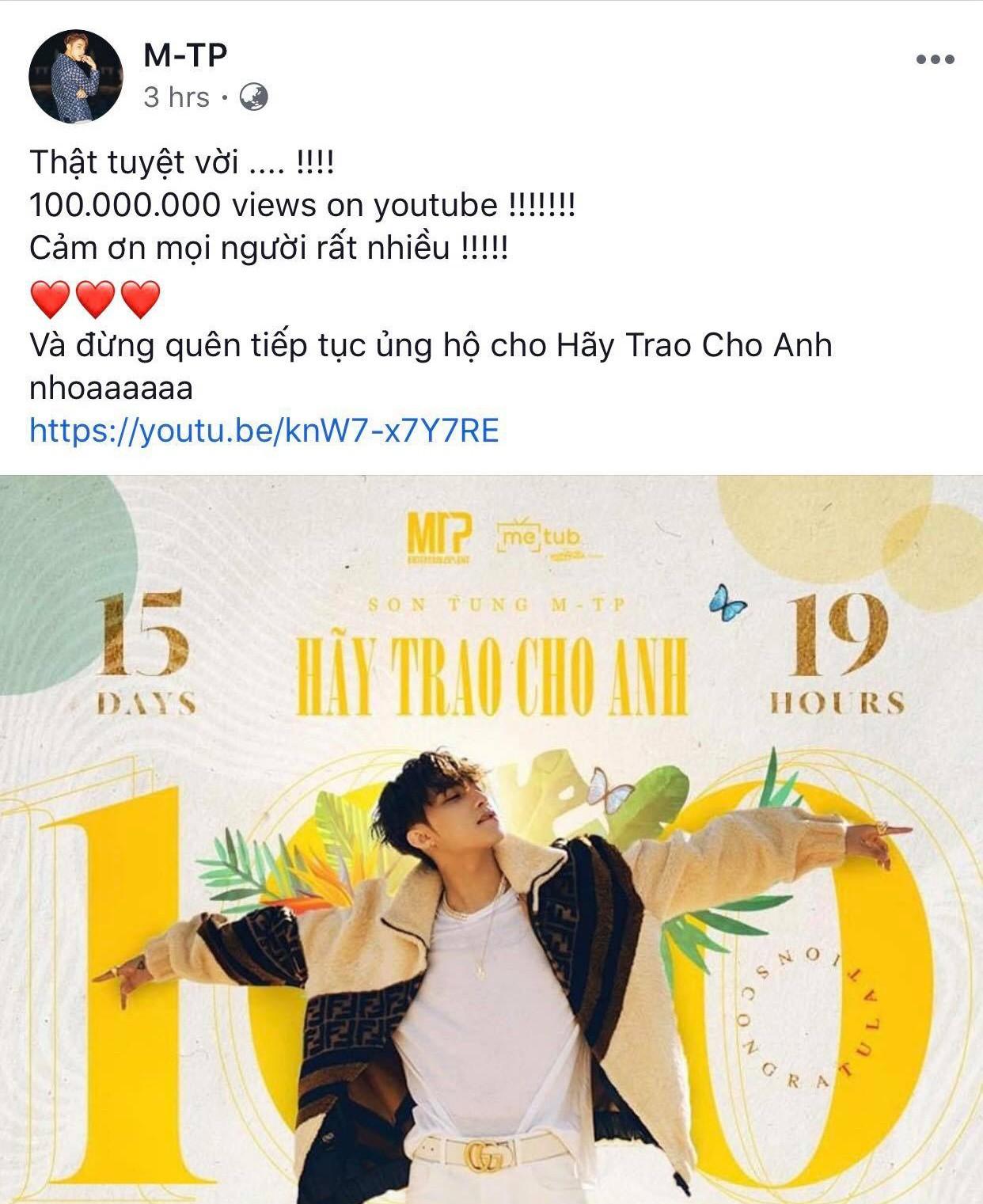 MV Hãy Trao Cho Anh đạt mốc 100 triệu views, Sơn Tùng M-TP vui quá viết caption chúc mừng... Em Của Ngày Hôm Qua - Ảnh 1.