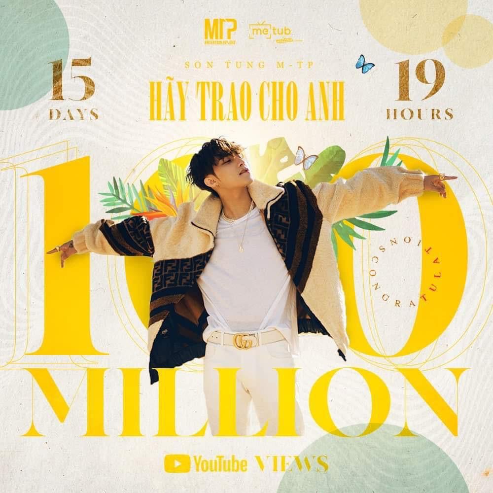 MV Hãy Trao Cho Anh đạt mốc 100 triệu views, Sơn Tùng M-TP vui quá viết caption chúc mừng... Em Của Ngày Hôm Qua - Ảnh 3.