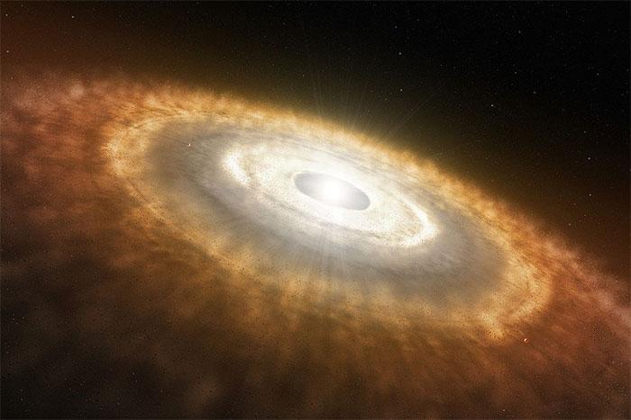 Hình vẽ của họa sĩ mô tả một đĩa tiền hành tinh xung quanh một ngôi sao mới hình thành.